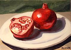 No. 46 - Pomegranates (patrickflynnart) Tags: original red stilllife fruit pomegranates oilpaint patrickflynn affordableart dailypainting 52weeks100paintings