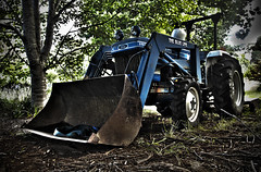 The Blue Line (Murray Hall) Tags: old blue trees tractor ford broken nature sticks rust farm wheels hdr trn