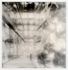 Hall Of Mirrors (tobysx70) Tags: new city uk toby bw sculpture white black reflection london glass sepia silver project shopping polaroid sx70 disco one hall centre uv corridor mirrors balls tip shade change 100 sonar hancock impossible px px100 sx70sonar of silvershade theimpossibleproject tobyhancock impossaroid