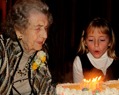 The 100th birthday cake (ScribeGirl) Tags: birthday old family party woman cake candle child 71 aging fireflame 113picturesin2013