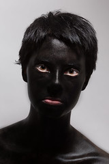 Sara (Adam Rummer) Tags: woman white black girl lady self paint sara skin hide cover theo facepaint purpose paintitblack purposes unintended