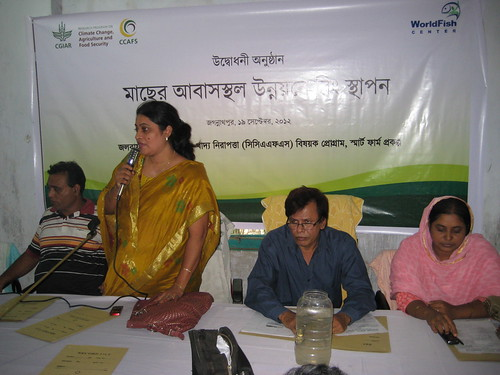 Launching ceremony of the Fish Habitat Development Rings in Bangladesh. Photo by Mélody Braun, 2012.