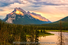 Mount Rundle at sunset at Vermilion Lakes. Banff, Alberta, Canad (williamzhang.com) Tags: canada mountains nature clouds lakes sunsets alberta northamerica geology freshwater banffnationalpark westerncanada canadianprairies atmosphereandsky rockypeaks