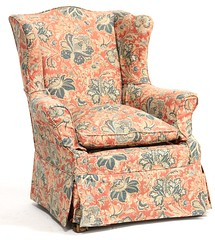 Near Pair of Queen Anne Style Wing Back Chairs