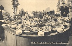 The Revolving Smorgasbord in the Three Crowns Restaurant - New York World's Fair, 1939 (The Cardboard America Archives) Tags: worldsfair 1939 newyork smorgasbord vintage postcard