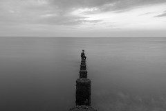 On the Edge of Sanity (L Harmer Photography) Tags: me groyne portrait sea beach water bw monochrome person black white seascape wide seat l harmer photography canon 760d eos dslr