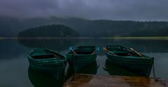 Black Lake - Montenegro (swkphoto) Tags: black lake montenegro natioanl park water mist fog boats calm trees mountains landscape moody
