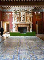 Ornate fireplace, faience tile floor - Chateau d'Ecouen, France (Monceau) Tags: ornate fireplace faence tiles floorchteaudcouen musenationaldelarenaissance renaissance museum treasures