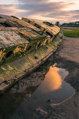 Tide Marks (joshuacolephoto) Tags: bay barry wales landscape photography nikon d750 sunset sun water river bed mud boat wreck shipwreck sunk colour broken travel holiday explore jcm joshuacole joshuacolemedia fx fullframe goldenhour