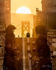 Good Morning San Francisco (rootswalker) Tags: sanfrancisco sunrise baybridge cablecar alignment nikon600mmifed nikond800 citylife glow goldenhour