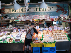 Pike Place Fish Co, Seattle (John Wood Photography) Tags: seattle pikeplacemarket pikeplacefishco lumixg7 panasonic johnwoodphotography travel usa