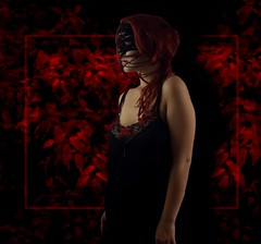 (Anna Rchie) Tags: red black twisted leaves dark