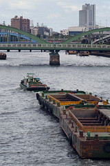 (  / Yorozuna) Tags:       workboat workbarge workship towingboat towedship ship boat  construction   bridge  kuramaebridge  umayabridge  sumidariver   river  riverside bridgepier  sumidaward towing  ryogoku  kuramae xm1supertakumar135mmf35  tokyo japan