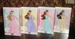 Complete Set- 2003 Birthday Wishes Barbie Dolls (Paul BarbieTemptation) Tags: 2003 birthday wishes barbie pink lavender aqua yellow cream