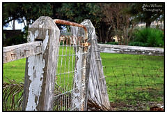 Rural Retreat (juliewilliams11) Tags: outdoor photoborder fence gate rural newsouthwales australia rust wooden wire nails garden hff