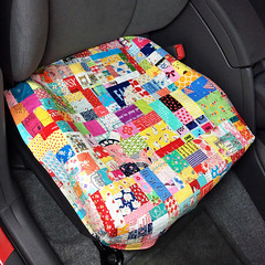 Seat Cover for my Little Red Prius :) (elnorac) Tags: patchwork quilt quilting improvpiecing