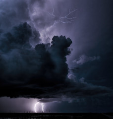 Lightning over the Bay (Scott Sanford) Tags: weather landscape outdoor nature clouds sky lightning dramatic dark 3 contrast naturalbeauty thunderstorm texas summer canon eos ef2470mmf28lusm 6d topazlabs exploring explorer