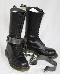 Boots N Irons (collaredinboots1) Tags: irons chained legirons anklerestraints legcuffs docs dms docmartens boots