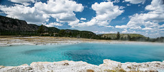 quiet heat (almostsummersky) Tags: geothermalpool spring hotspring nationalpark yellowstone thermophile clouds summer bacterialmat travel pool steam biscuitbasin sky water yellowstonenationalpark geothermal sapphirepool wyoming unitedstates us