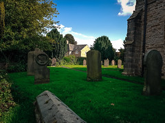 270 of 366 (I line photography) Tags: 365project churchyard bluesky cloudy church trees grass green gravestone graveyard buildings