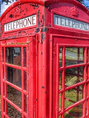 Old Technology (Nick Fewings 4.5 Million Views) Tags: design 2016 september hampshire uk newforest lyndhurst panasonic colourful colour nickfewings windows flake paint rust icon telecommunication british red box telephone