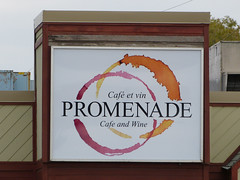 Promenade Cafe Sign (Lazy B) Tags: canada coffee sign october winnipeg wine circles stains 2012 fz150 promenadecafe