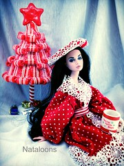 Tis the Season! (Nataloons) Tags: christmas red white holiday snow tree fashion by dark hair toys inch doll long dress handmade lace stripes vinyl poppy pout mug 12 dots beret parker happening peppermint twelve integrity louos souol uploaded:by=flickrmobile flickriosapp:filter=nofilter