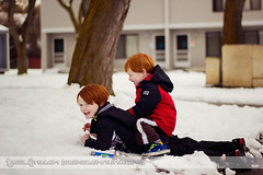 Ryan & Cody (tanya_little) Tags: winter boy snow cute childhood canon fun outside outdoors 50mm ginger washington kid december child close brothers young naturallight fringe redhead together bangs closeness f18 redhair tackle ellensburg 2012 t2i layinginsnow playsword tanyalittle