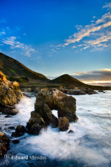 Beautiful Arch, Big Sur Coast (Edward Mendes) Tags: ocean california blue sunset white seascape green art nature water rock vertical clouds landscape monterey waves fineart bigsur hills highway1 montereycounty garrapatastatepark hwy1 seaarch pacificcoasthighway breakingwaves paciticcoast
