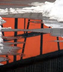 Wet abstract (:Linda:) Tags: snow reflection germany puddle village upsidedown thuringia halftimbered fachwerk pftze lengfeld