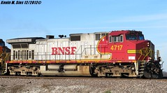 BNSF Warbonnet #4717 w/ RS5T Leslie horn @ Joan, IL. (CQDX018) Tags: santa up burlington illinois pacific sub union joan etc horn fe northern railfan bnsf pana 4717 railfanning warbonnet c449w rs5t cqdx018