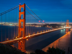 Golden Gate Bridge Blue Hour (karjul) Tags: 2012 amerika blauestunde bluehour california d90 goldengatebridge kalifornien meer nikon nordamerika northamerica sanfrancisco sea usa urlaub urlaubusa2012 vacationusa2012 blau blue red rot vacation blinkagain mygearandme mygearandmepremium mygearandmebronze mygearandmesilver explored mygearandmegold mygearandmeplatinum