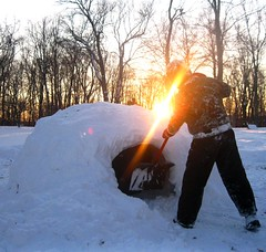 Building the Igloo (Smile Moon) Tags: winter sunset snow cold building kids yard fun fort digging front pile effort mound frontyard crafting igloo 112picturesin2012 83inyourowngardenyard
