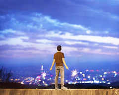 New Beginnings (brandonhuang) Tags: new city light boy sunset sky cloud clouds standing canon happy lights stand bokeh mark year sparklers ii 5d taipei f2 135 sparkler 135mm 135mmf2l brandonhuang 5d2 5dii