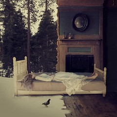 between (brookeshaden) Tags: snow bird forest bed dream dreaming oldhouse fineartphotography newworlds conceptualphotography betweenworlds brookeshaden