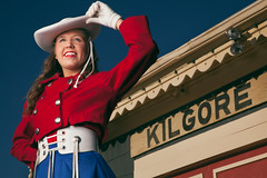 Ria (Jamie M. / jcm-photo.com) Tags: blue red portrait hat fashion downtown texas tradition drillteam ria kilgore rette rangerette rangeretes