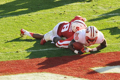 Wisconsin running back Montee Ball (28) rushes for yardage and comes up just short of the end zone during the first half of the 2013 Rose Bowl football game between the University of Wisconsin-Madison Badgers and the Stanford University Cardinal at the Ro