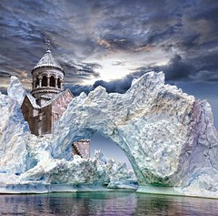 Melting iceberg revealing an Armenian church      (Sako Tchilingirian) Tags: winter light sunset sea sky white snow storm abstract art fall church saint architecture clouds digital photoshop canon effects photography photo artwork nikon view arte minolta artistic surrealism religion digitalart iglesia surreal best historic holy monastery illusion fantasy armenia historical imagination iceberg christianity monuments yerevan hdr armenian nicon sako manupulation   noravank khachkar  khatchkar         tchilingirian