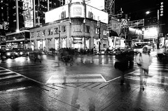 Dundas Square (LSean) Tags: life new people bw white toronto black blur night square moving long exposure downtown slow year years dundas 2012 2013