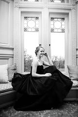 221:365 - Elegance (KatGatti) Tags: portrait blackandwhite bw woman girl smile fashion architecture canon vintage model style laugh 365 dior elegance blackdress katgatti