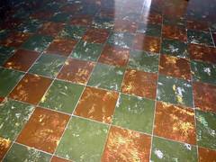 "1940's Asbestos 12""x12"" Floor Tile (Asbestorama) Tags: brown green tile floor inspection feather retro safety vat flooring asphalt survey checker hazard waxed asbestos mottle 12x12"