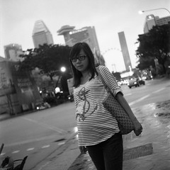 The 34th week (The91) Tags: street city portrait bw 6x6 film girl lady mediumformat square singapore seagull 14 style delta pregnant negative squareformat mf eleanor 3200 ilford wy 75mm  ddx seagull4a103 4a103 4a103