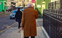 going (Omar Parada) Tags: street old people man green london pentax coat walls k5 ornge darktable