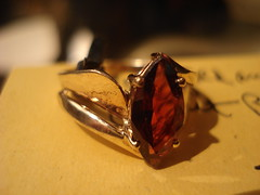 """GARNET AND GOLD RING. • <a style=""""font-size:0.8em;"""" href=""""http://www.flickr.com/photos/51721355@N02/8447681351/"""" target=""""_blank"""">View on Flickr</a>"""
