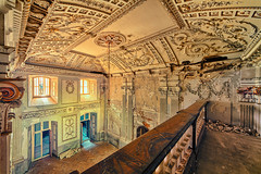 (Photoportee) Tags: abandoned palace exploration sunny warm structure balcony decay colorful stucco ceiling chamber
