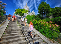 Stairs to the Sacre Coeur Basilica in Paris (` Toshio ') Tags: toshio paris france sacrecoeurbasilica sacrecoeur stairs church chapel europe european europeanunion people girls tree garden fujixe2 xe2 dome flowers couple clouds montmartre