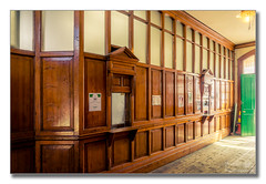 Booking hall (Descended from Ding the Devil) Tags: 3exposures greatcentralrailway hdr heritage lightroom loughborough sonya7mkii sonyalphadslr bookinghall door lamp photoborder steam windows wood