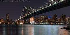 Manhattan Bridge (DSC08498-Edit-Edit) (Michael.Lee.Pics.NYC) Tags: newyork manhattanbridge eastriver manahttan brooklynbridgepark empirefultonferry lighttrail traffictrail night longexposure sony a7rm2 fe2470mmgm