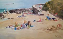 Ballymoney north beach (katekos) Tags: watercolor watercolour water wexford ballymoney beach sand seascape sea summer people courtown tanning sky sketch painting art akwarela krajobraz morski katekos