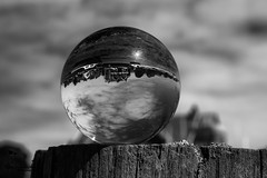 Alnmouth 12 (View From The Chair Photography) Tags: monochrome mono blkwhite crystalball glassball sphere reflection refraction abstract